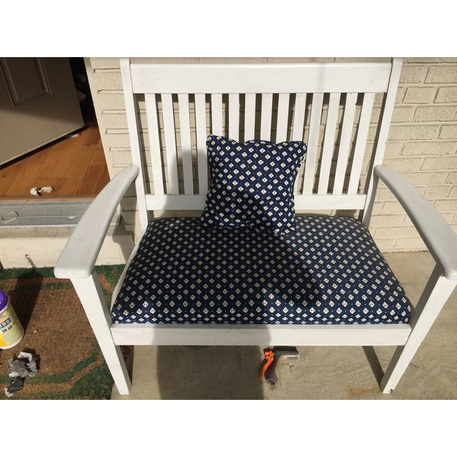 Mission-Style White & Navy Bench - Image 5 of 6