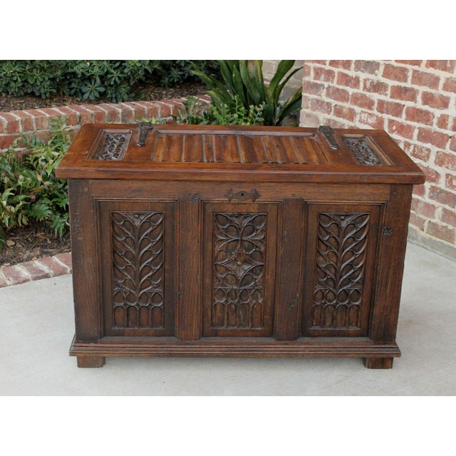 Antique French Oak 19th Century Gothic Coffer Chest Blanket Box Trunk For Sale - Image 11 of 12