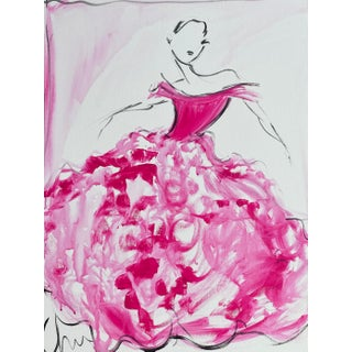 """Pink Peony Tulle Ball Gown"" Original Christian Siriano Painting For Sale"