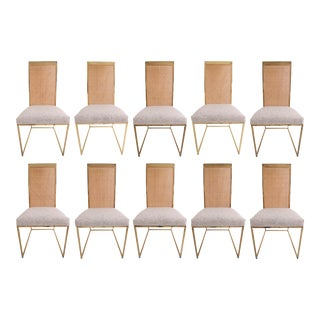 Late 20th Century High Back Brass & Caned Dining Chairs by Milo Baughman for Thayer Coggin- Set of 10 For Sale