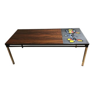 Mid-Century Rosewood and Art Tile Coffee Table