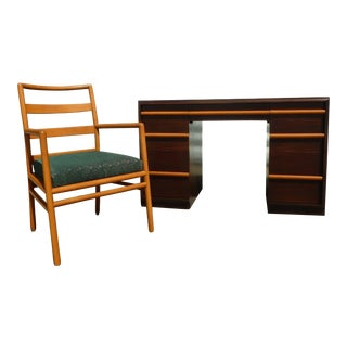 Refinished Widdicomb by T.H. Robsjohn Gibbings Desk and Armchair
