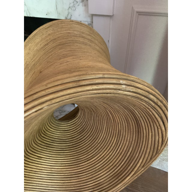 Wood Sculptural Pencil Reed Bamboo Ear Lounge Chair For Sale - Image 7 of 13
