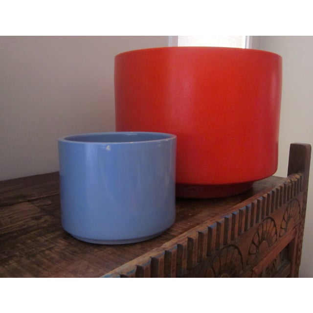 Gainey Ceramics Blue Architectural Pottery Planter For Sale - Image 10 of 11