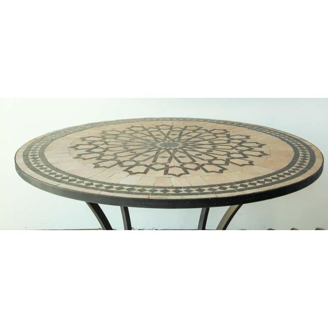 Mid 20th Century Moroccan Mosaic Outdoor Tile Table in Fez Moorish Design For Sale - Image 5 of 11