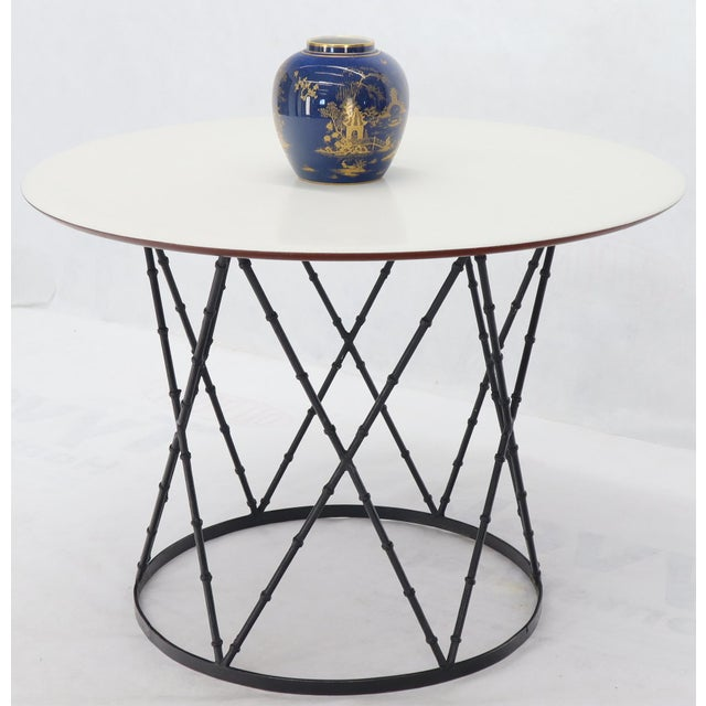 White Enameled Top Faux Bamboo Base Mid-Century Modern Dining Dinette Table For Sale - Image 8 of 11