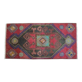 Distressed Low Pile Turkish Yastik Petite Rug Hand Knotted Faded Mat - 19'' X 38'' For Sale