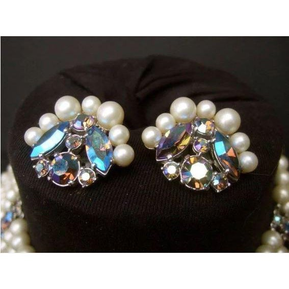 Schiaparelli Faux Pearl Bib Necklace and Earring Set. 1960's. For Sale - Image 6 of 8