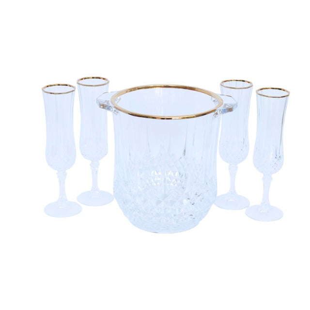 Cut Glass Champagne Bucket & 4 Champagne Flutes For Sale - Image 9 of 9