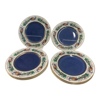 8 Wedgwood Peacock Plates Handpainted For Sale