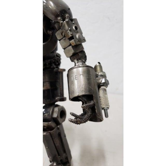 Charcoal Heavy Gauge Scrap Metal Robot Sculpture For Sale - Image 8 of 9