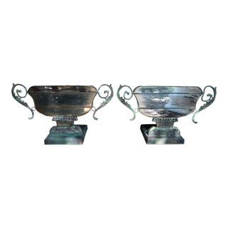 Eglomise Mirrored Metal Verdigris Fireplace Urn Planters - a Pair For Sale