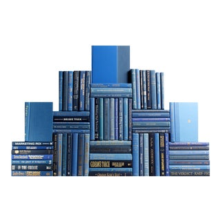 Modern Denim Book Wall : Set of Seventy Five Decorative Books