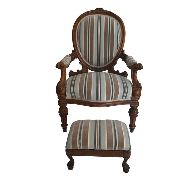 Antique Walnut Louis XVI Fauteuil and Footstool - Image 11 of 11