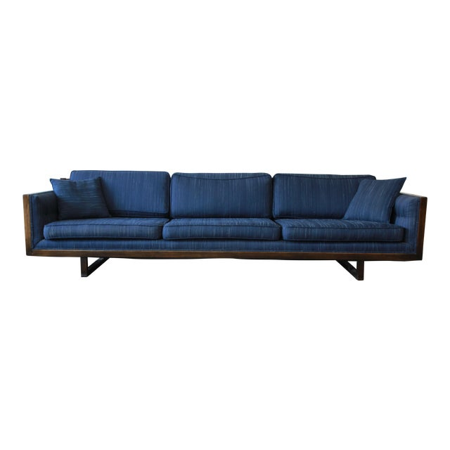 Milo Baughman Style Mid-Century Modern Floating Sofa For Sale