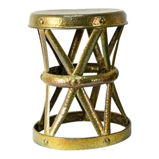 Vintage Hammered Brass Low Stool