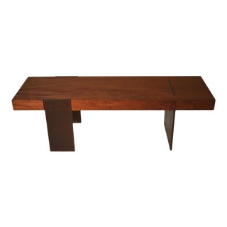 Contemporary Minimalist Wood and Steel Bench by Scott Gordon For Sale