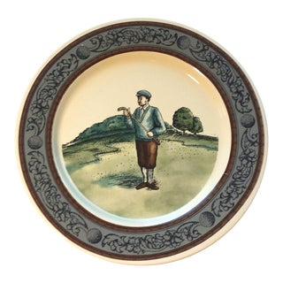 "1993 Vintage Cbk Ltd Ceramic Decorative Hand Painted 8"" Golf Plate For Sale"