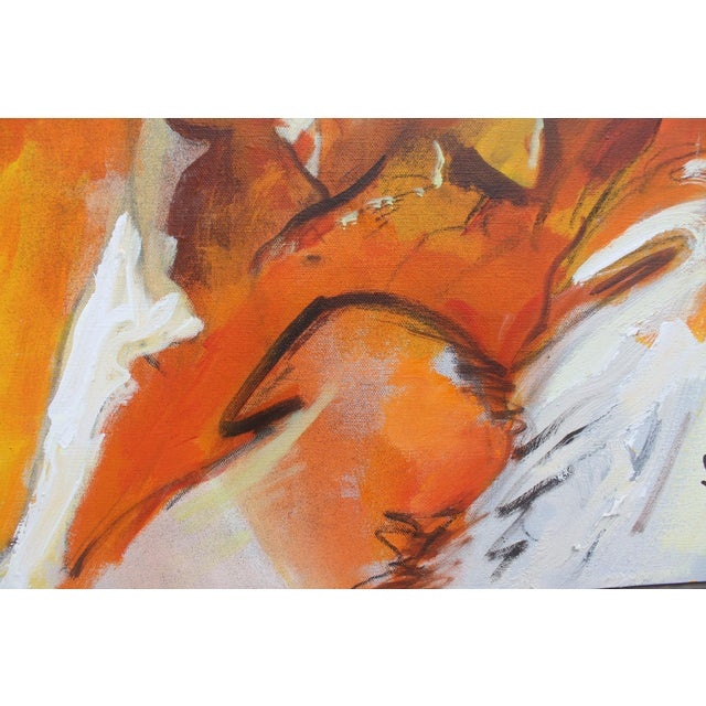 Orange Figural Abstract Reflective Painting by Jonas Girard For Sale - Image 8 of 11