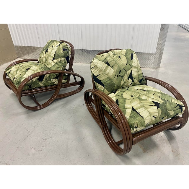 Wood Reupholstered Palm Rattan Pretzel Lounge Chairs For Sale - Image 7 of 7
