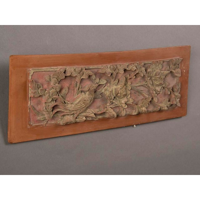 Late 19th Century Late 19th Century Kuang Hsu Period Chinese Carved Painted & Gilded Rectangular Plaque For Sale - Image 5 of 6