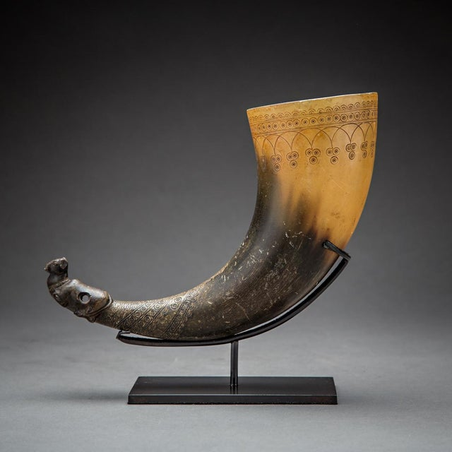 15th Century & Earlier Persian Horn Rhyton For Sale - Image 5 of 5