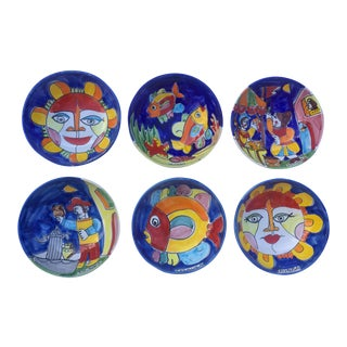 1970s Vintage La Musa Hand-Painted Italian Pottery Bowls - Set of 6 For Sale