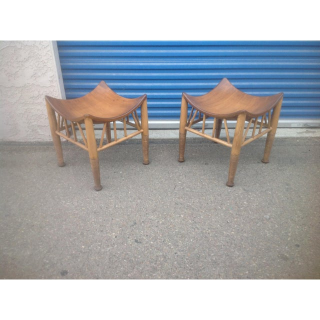 Modern Mid Century Style Accent Stools- A Pair For Sale In San Diego - Image 6 of 6