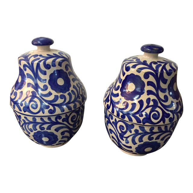 Moroccan Painted Blue & White Jar - A Pair - Image 1 of 3