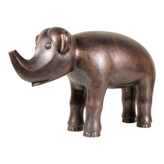 Elephant - Antique Copper by Robert Kuo, Hand Repoussé, Limited Edition For Sale