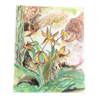 """"""" Yellow Lilies """" 1990s Botanic Watercolor Painting - Signed Original"""