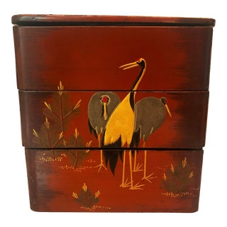 Vintage Japanese Lacquer Stacking Bento Box with Cranes, C 1940s For Sale