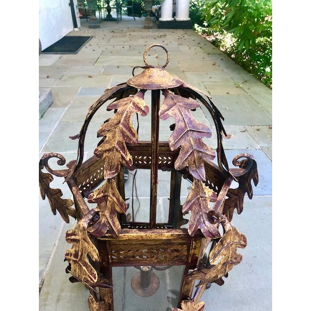 2000 - 2009 Two Worlds Arts Custom Large Scale Gilt Tole Chandelier/Hall Lantern For Sale - Image 5 of 13