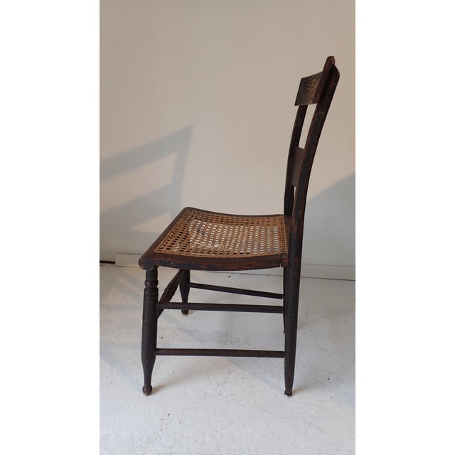 Antique Country Black Caned Chair For Sale In New York - Image 6 of 8