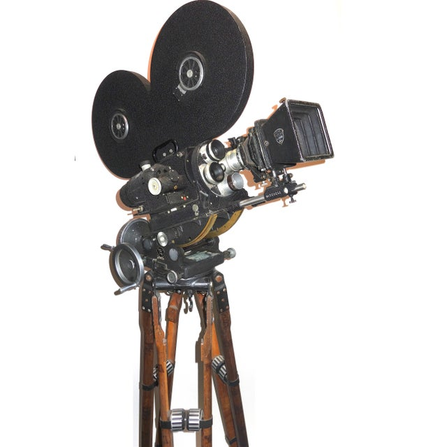 Hollywood Mid Century Movie Camera With Geared Head and Vintage Wood Tripod Legs For Sale - Image 9 of 9