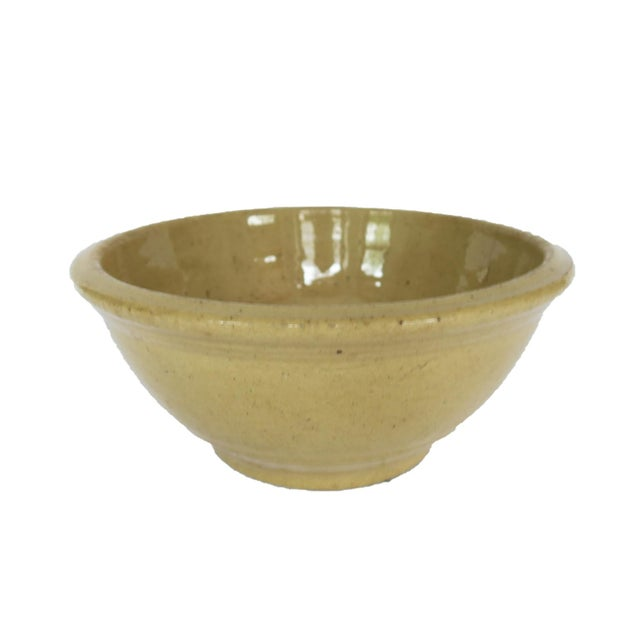 Antique Yellow Stoneware Crock Bowl For Sale - Image 4 of 4