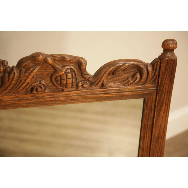 Brown Feudal Oak Jamestown Lounge Carved Frame Mirror For Sale - Image 8 of 12