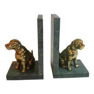 Vintage Brass and Marble Dog Bookends - a Pair For Sale
