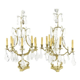 Pair of Monumental Crystal, Rock Crystal and Brass Candelabras