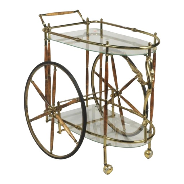 Vintage Brass & Glass Drink Cart - Image 1 of 4