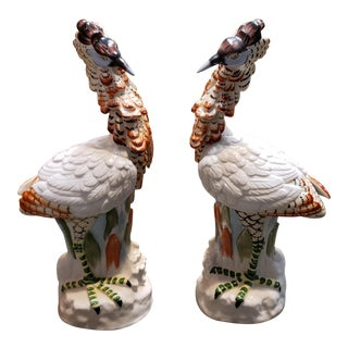 1980s Mottahedeh Porcelain Crested Crane Statuettes Made in Japan - a Pair For Sale