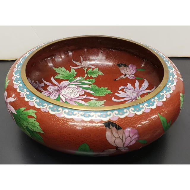 Circa 1970 Chinese Cloisonne and Brass Floral/Butterfly Motifs Brush Washer Bowl For Sale - Image 9 of 9