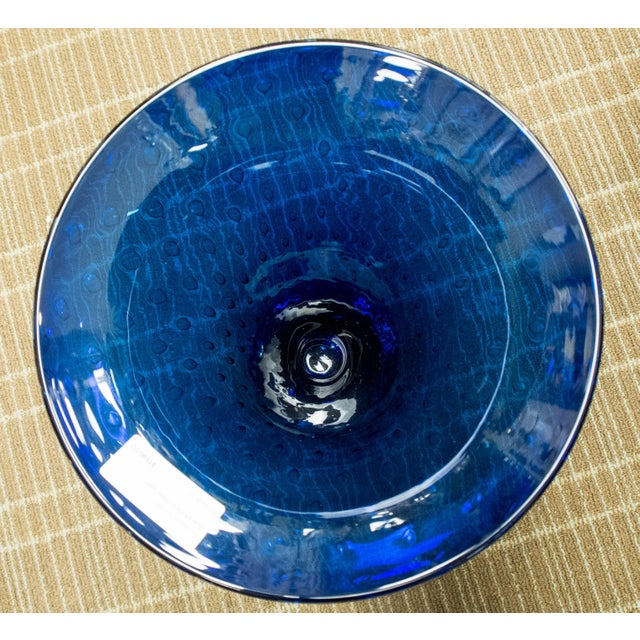 Italian Blue Murano Glass Vase For Sale - Image 3 of 5