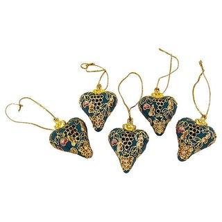 Vintage Cloisonne Heart Ornaments - S/5 For Sale