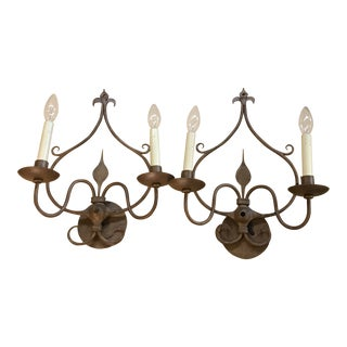 Ironware International Wall Sconces - a Pair For Sale