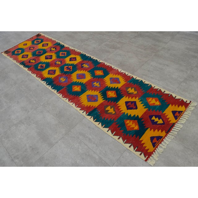 "Turkish Hand Woven Wool Nomad Runner Rug - 2'6"" X 9'1"" - Image 4 of 8"