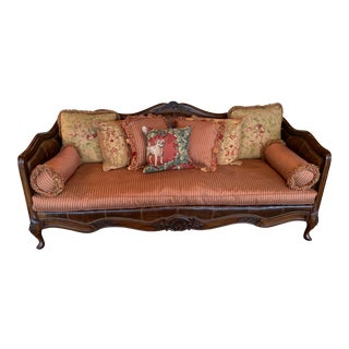 Lillian August French Cain and Leather Camel Back Sofa For Sale