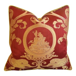 """Old World Weavers Red & Gold Silk Grecian Feather/Down Pillow 24"""" Square For Sale"""