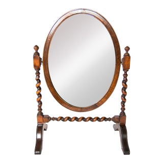 Antique English Oak Barley Twist Table Dressing Mirror For Sale