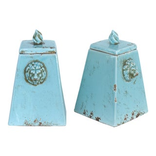 Vintage Turquoise Versace Style Glazed Ceramic Candle Holders- a Pair For Sale